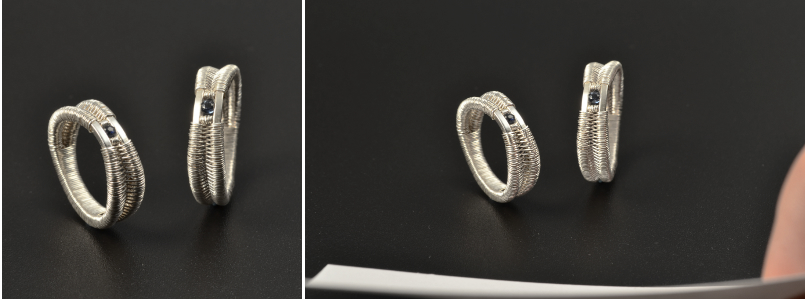 The effect of adding a small light bounce card to increase the reflection on the bottom of the rings was astonishing.